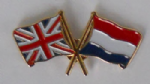 Great Britain and Netherlands Friendship Flag Pin Badge